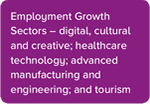 Employment growth sectors - digital, cultural and creative; healthcare technology; advanced manufacturingand engineering; and tourism